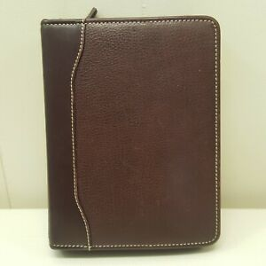 Franklin Quest Planner Binder Zip Up Top Grain Leather Brown 8 5x6 5 In Compact