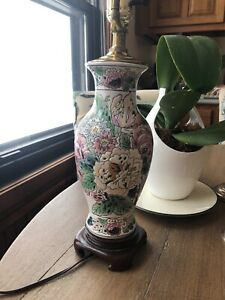 Antique Chinese Famille Rose Porcelain Lamp Rouleau Vase