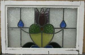 Old English Leaded Stained Glass Window Gorgeous Floral Heart 27 X 17 25