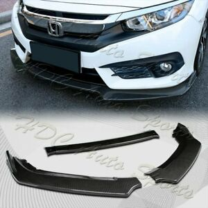 For 2016 2019 Honda Civic Carbon Style Front Bumper Body Kit Spoiler Lip 3pcs