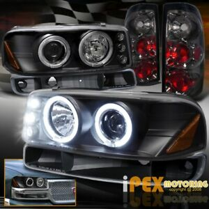 2004 2006 Gmc Sierra 1500 2500hd Halo Projector Led Headlight Smoke Tail Light
