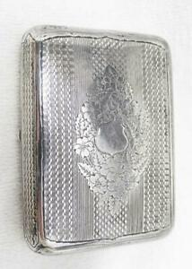 Antique Russian 875 Silver Engine Turned Cigarette Case Box Moscow 1890