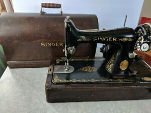 Antique Singer Sewing Machine 1920s Portable With Knee Lever Bentwood Case Key