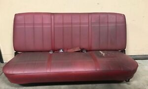 1987 1991 Ford Truck F150 250 350 Red Front Bench Seat Leather Folding Manual