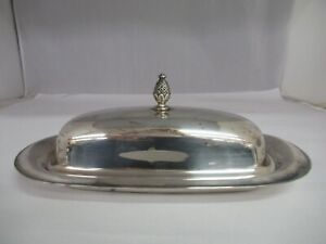 Vintage William Rogers Silver Plate Butter Dish With Glass Liner 977 K