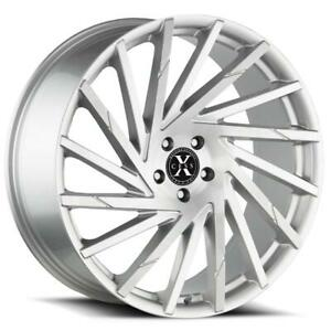 22 Inch 22x9 Xcess X02 Silver Brushed Wheel Rim 5x4 5 5x114 3 35