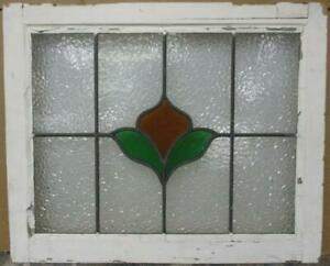 Mid Sized Old English Leaded Stained Glass Window Abstract Floral 24 5 X 20