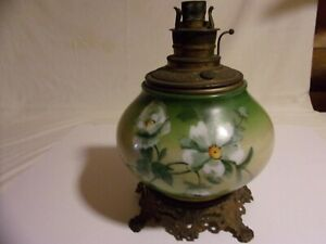 Gwtw Oil Lamp Hand Painted Glass Cast Iron Base W Brass Drop In Font Gwtw4