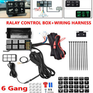 6 Gang Switch Panel Relay Control Box wiring Harness Boat Car Truck W 12v Power