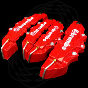 4 Set Red 3d Style Front Rear Universal Disc Car Brake Caliper Covers Abs Usa