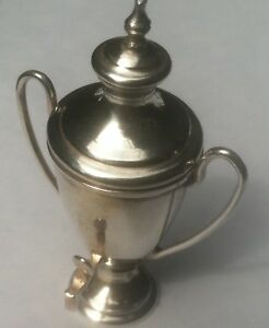 Miniature Sterling Silver Coffee Tea Urn 2 Handles Dollhouse