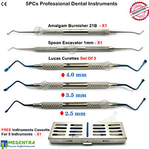 5pcs Surgical Dental Set Lucas Curettes Root Canal Spoon Excavator 21b Burnisher