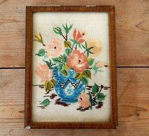 Antique Embroidery Vase Of Flowers Hand Embroidered Vintage Framed Victorian