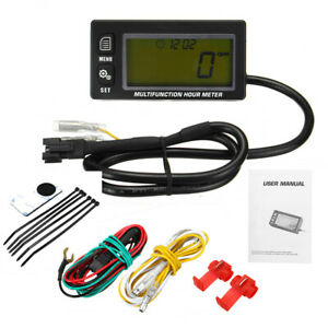 Waterproof Rpm Motorcycle Marine Boat Atv Lcd Digital Tachometer Voltmeter Hour