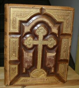 Antique 1876 Catholic Life Of Christ Book Bible Tooled Leather Covers Pictures
