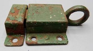 Vintage Shabby Green Painted Tin 2 Piece Cupboard Door Latch