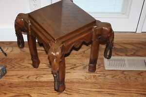 Antique Wooden Elephant End Table Hand Carved African 18 Tall Plant Stand