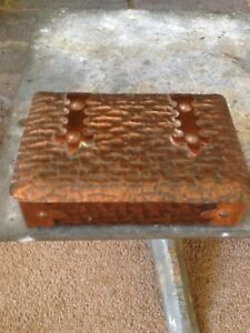 Small Arts And Crafts Copper Textured Box With Gothic Straps