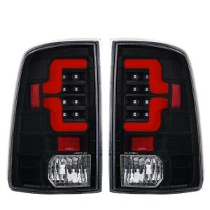Fit 10 18 Dodge Ram 1500 2500 3500 Tube Red Streak Led Tail Lights Black Clear