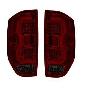 Fit 14 17 Toyota Tundra Tube Red Streak Led Tail Lights Red Smoked Lens chrome