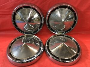 Vintage Set Of 4 1960 61 Ford Dog Dish Hubcaps Starliner Galaxie Fomoco