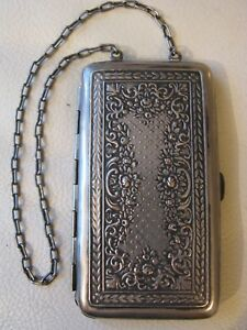 Antique Art Nouveau Floral Silver P Card Case Coin Holder Powder Compact Purse 1