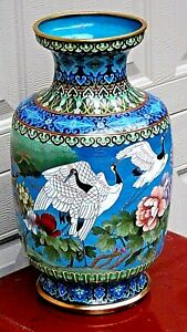 Antique Chines Large Cloisonne Polichrome Enameled Vase With Flying Cranes 2