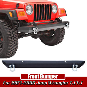 For 87 06 Jeep Wrangler Yj Tj Lj Black Textured Front Bumper With 2xd Rings