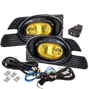 Fit 01 02 Accord Sedan Front Bumper Fog Light Yellow H11 Bulbs Wiring switch