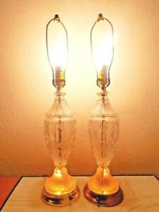 Lamps A Pair Of Vintage 4 Way Unique Deluxe Base Lit Pressed Glass Table Lamps