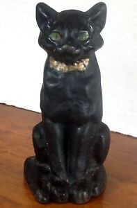 Antique 1920 S Solid Cast Iron Large 9 Black Sitting Cat W Green Eyes Doorstop