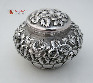 Repousse Dresser Jar Reed And Barton Sterling Silver 1900