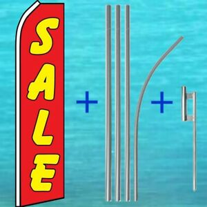 Sale Flutter Flag Pole Mount Kit Tall Curved Feather Swooper Wind Banner Sign