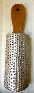 Antique Country Primitive Punched Tin Grater Wood Hand Cut Handle Mounted
