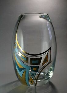 Antique Art Deco Clear Glass Vase Enamel Painting Nov Bor Haida 1915 1930 S