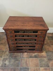 Antique J P Coats Victorian Wooden Six Drawer Spool Cabinet Chest Box