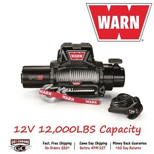 96820 Warn Vr12 Vehicle Mounted Recovery Winch 12v 12000lb Pull 80 Wire Rope