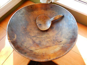 Large 18 Antique Carved Burl Wood Dough Mixing Bowl W Paddle