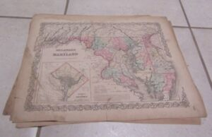 1855 Colton Maryland Delaware Antique Color Map Info Pages 15x18 Wash Dc Inset