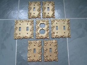 Vintage Antique Brass Ornate Single Double Light Switch Plates Outlet Cover