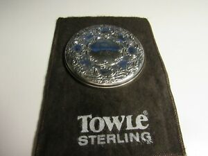 Towle Repousse Sterling Silver Vanity Compact Purse Hand Mirror W Pouch