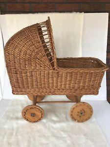 Vintage Wicker Rattan Baby Buggy Baby Doll Carriage Wood Wheels Nice Antique