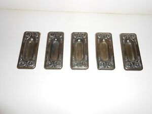 Antique Sash Lifts Set Of 5 Brass Plated