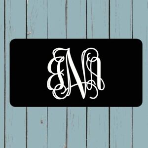 Black Monogram License Plate Car Tag Personalized Gift Lilly