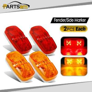 4x Amber Red 10led 4x2 Side Marker Light Truck Trailer Clearance 12v Universal