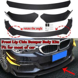 Carbon Fiber Style Universal Adjustable Car Front Bumper Lip Spoiler Body Kit