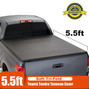 For 2007 2018 Toyota Tundra Crew Max Bed 5 5ft 66 Soft Tri Fold Tonneau Cover