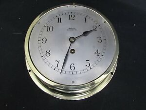 Vintage Ships Bulkhead Brass Case Wall Clock Barkers Kensington French Movement