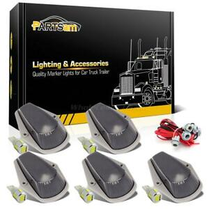 5pc Smoked Cab Marker Lights W t10 5730 Led White wiring Pack For Ford F 250 350