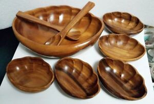 Mcm 8 Pc Handcrafted Monkey Pod Wood Salad Bowl Serving Set Made In Philippines